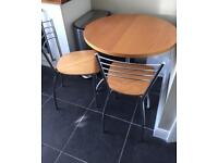 John Lewis round dining table and 2 chairs