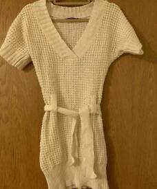 Womens White Bodycorn Cable Knitted Jumper Dress Acrylic Wool