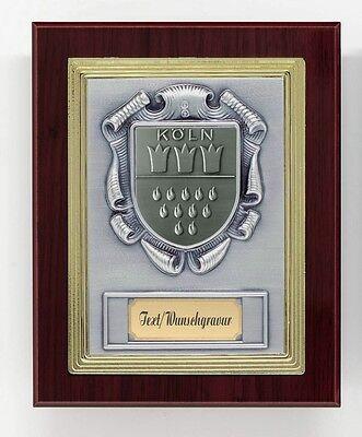 Ehrentafel / Auszeichnung Ehrenpreis Holz mit Wappen Köln und Wunsch-Gravur!