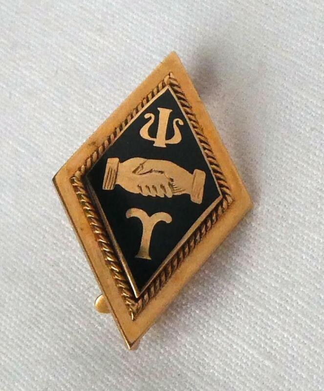 Antique 1890s Solid 14k Gold Union College Psi Upsilon Handshake Fraternity Pin
