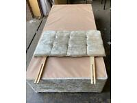 Single divan bed with 2 Drawers and headboard champagne colour