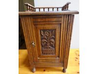 Lovely carved wood Burr Walnut Cabinet / Pot Cupboard by Edgar Bros.