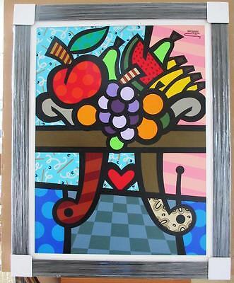 "Jozza ""Fruit Salad"" Custom Framed Original H/S Canvas XL 47.5x37 fruit pop art"