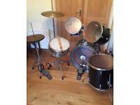 Drum Kit - Black - 8 Piece - Sticks - Stool