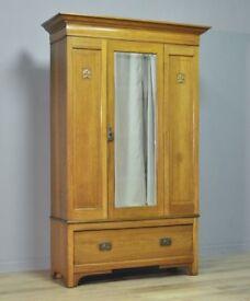 Large Antique Edwardian Arts & Crafts Oak Mirror Door Wardrobe With Drawer Base