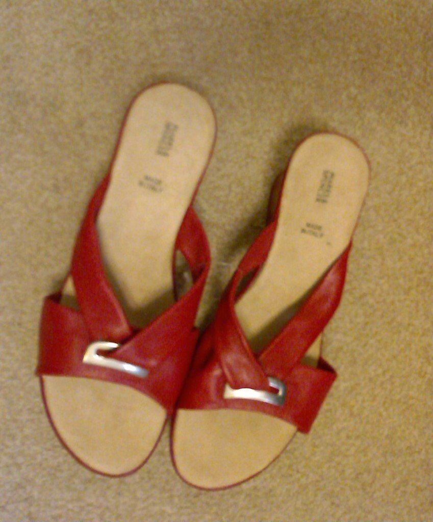 Pair of Marks and Spensers Red Sandals never worn.