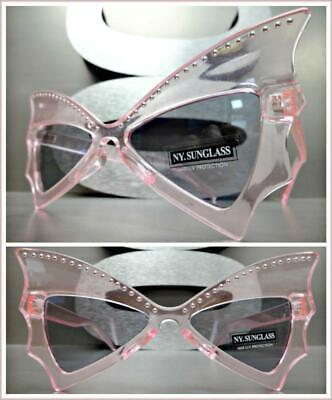 Funky Exotic RETRO Cat Eye Style SUNGLASSES Pink Studded Bat Wing Shape (Batwing Sunglasses)