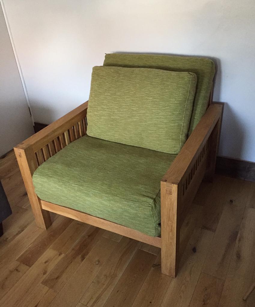 Pristine Single Seat Solid Oak Sofa Bed Armchair By Futon Company