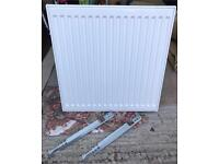 White convector radiator double walled 600mm x 600mm Including Wall Brackets