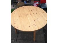Round Solid Pine Dining Table - No Chairs - Unvarnished - Rustic