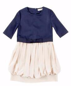 (Brand New, save £££s!) Designer Pure Silk Dress by STELLA MCCARTNEY Kids; Girls Size 8 Navy/Natural