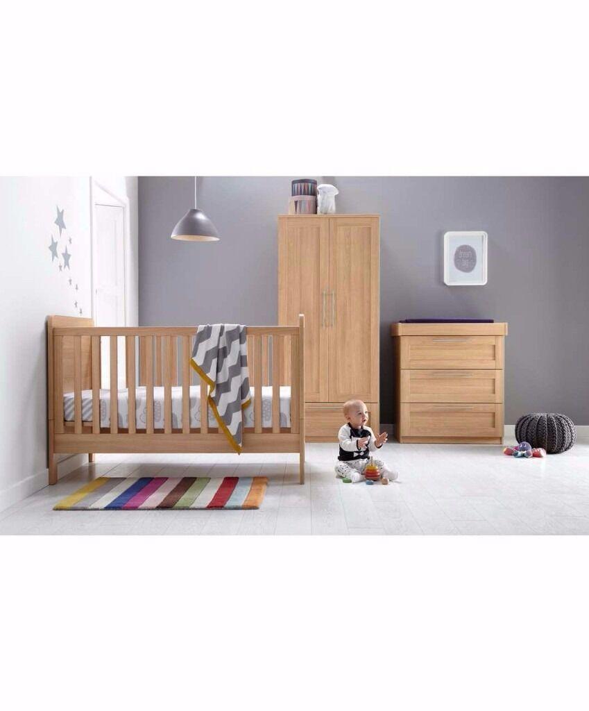Mamas And Papas Bedroom Furniture Mamas Papas Rialto 3 Piece Nursery Set Natural Oak In