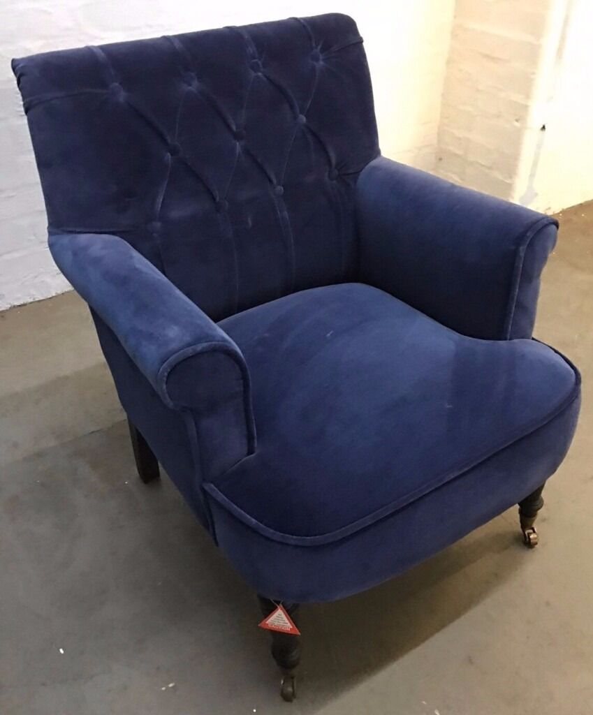 Exceptionnel Atkin And Thyme   Pimlico Blue Velvet Armchair