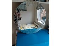 Large Round Mosaic Mirror