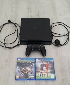PS4 Slim 500g, all leads, official wireless controller and games - Excellent condition