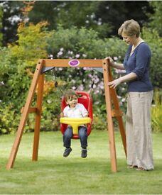 Plum wooden swing