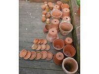 27 TERRACOTTA PLANT POTS + 14 POT SAUCERS