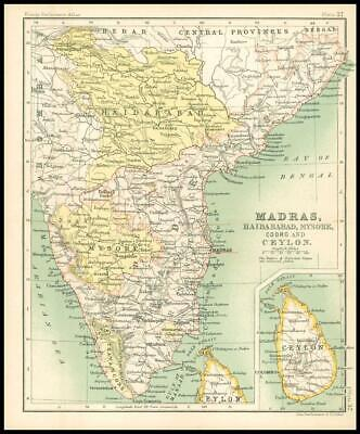 c1912 Map of MADRAS HAIDARABAD MYSORE COORG AND CEYLON Chart Regions (BS41)