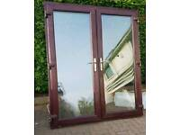 ** uPVC Double Glazed French Doors Woodgrain Rosewood Brown on White Not Patio Sliding Doors