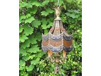 Vintage gilt/glass hanging lamp, moroccan style, home, porch,conservatory