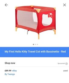 Hello kitty my first travel cot