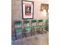 4 x Metal Vintage Mid Century Stacking Chairs