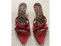 Ladies Jigsaw red pointed suede sandals size 37