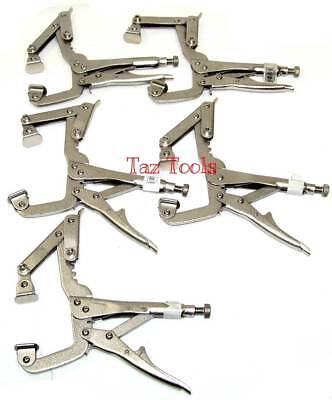 "Locking C Clamps 4 Position Adjusment  With Pad 9"" Set Adjustable Clamp 5pc set"