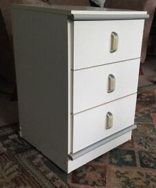 One Bedside Cabinet with Three Drawers - Grey detail H25.5in/64cmW16in/41cmD17in/43cm