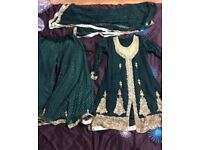 Wedding dress, Asian sharara suit, emerald green