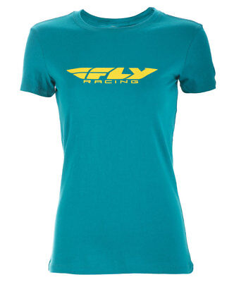 Fly Racing MX Motocross MTB BMX 2018 Women's CORPORATE T-Shirt (Teal)