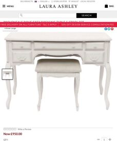 Dove Grey Laura Ashley Dressing Table Provencale with stool
