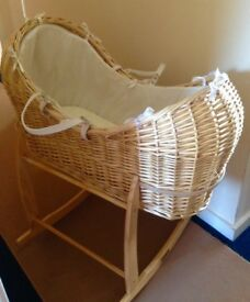 Moses Basket with Rocker and Mattress Natural colour Good Condition