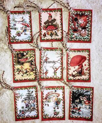 Christmas Gift Tags Set (Set of 9 Hang Tags~Vintage Christmas Elves~Gift)
