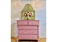 Blush Pink Chest of Drawers French Script