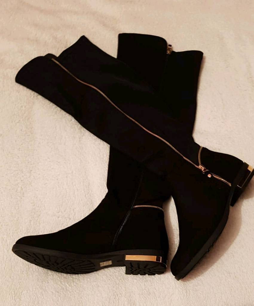 c7ac297cf32 New ladies flat black   gold faux suede wide leg boots uk size 8. Bradford  ...