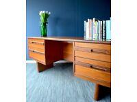 Stylish Vintage 'William Lawrence' Danish style teak desk / dresser. Delivery. Modern / midcentury.