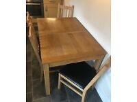 Extendable Wooden Dining Table & 4 Chairs