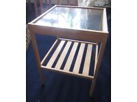bamboo and glass bedside table/end table