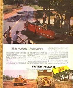 1954 full-page color magazine ad for Caterpillar Construction