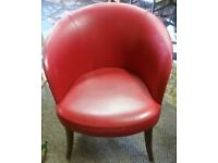 Retro Red Leather Tub Chair