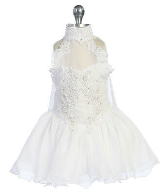 Infant Girl & Toddler National Pageant Wedding Formal Party Dress White