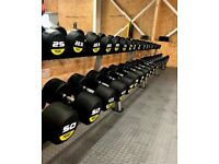 BRAND NEW Full set 2.5KG - 50KG 20 pairs 1050KG Commercial Pro r3 Rubber Round Dumbbells + GYM MATS