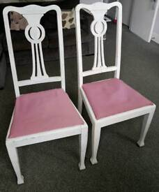 Shabby chic, white oak dining chairs for sale