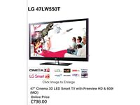 """LG 47LW550T 47"""" Widescreen Cinema Full HD LED Smart Internet TV with Freeview HD"""