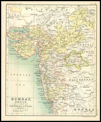 c1912 Map of BOMBAY BERAR AND PART OF CENTRAL INDIA Chart Regions (BS40)