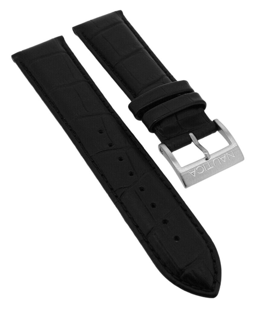 Nautica Herren NAI21501GBL Ersatzband 22mm Leder schwarz Krokoprägung