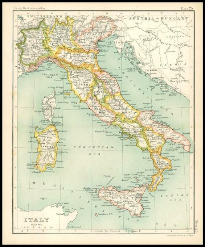 c1912 Map of ITALY Chart Regions (BS28)