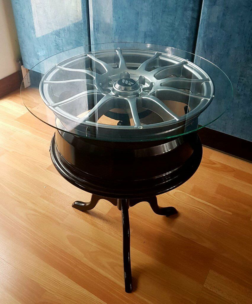 Glass Coffee Tables Gumtree: Alloy Wheel Table, Side Table, Coffee Table, Round Glass