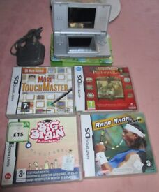 Silver Nintendo DS Lite Bundle with Four DS Games and charger, Stylus & case